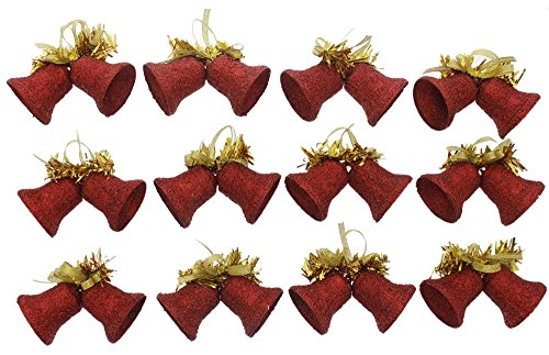 Elegant Traditional Christmas Holiday Sparkling Shimmering Glitter Twin Bell Ornaments with Gold Bows & Tinsel, Red, Gold, Medium, Set of 12, Medium, 4.5