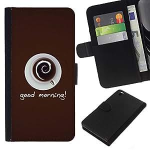 // PHONE CASE GIFT // Moda Estuche Funda de Cuero Billetera Tarjeta de crédito dinero bolsa Cubierta de proteccion Caso HTC DESIRE 816 / Good Morning Coffee /
