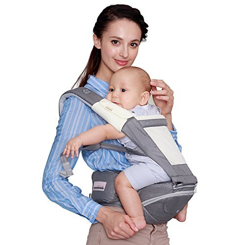 Bebamour Best New Style Baby Ergonomic Carrier Sling Soft Hip Seat Hood Perfect for Infant & Toddler (Light Grey)