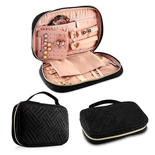 Jian Ya Na Travel Jewelry Storage Bag Women Multi_Functional Jewelry Storage Box for Necklace Earrings Rings Bracelets Watches Girls Portable Jewelry Case (Black) from Jian Ya Na