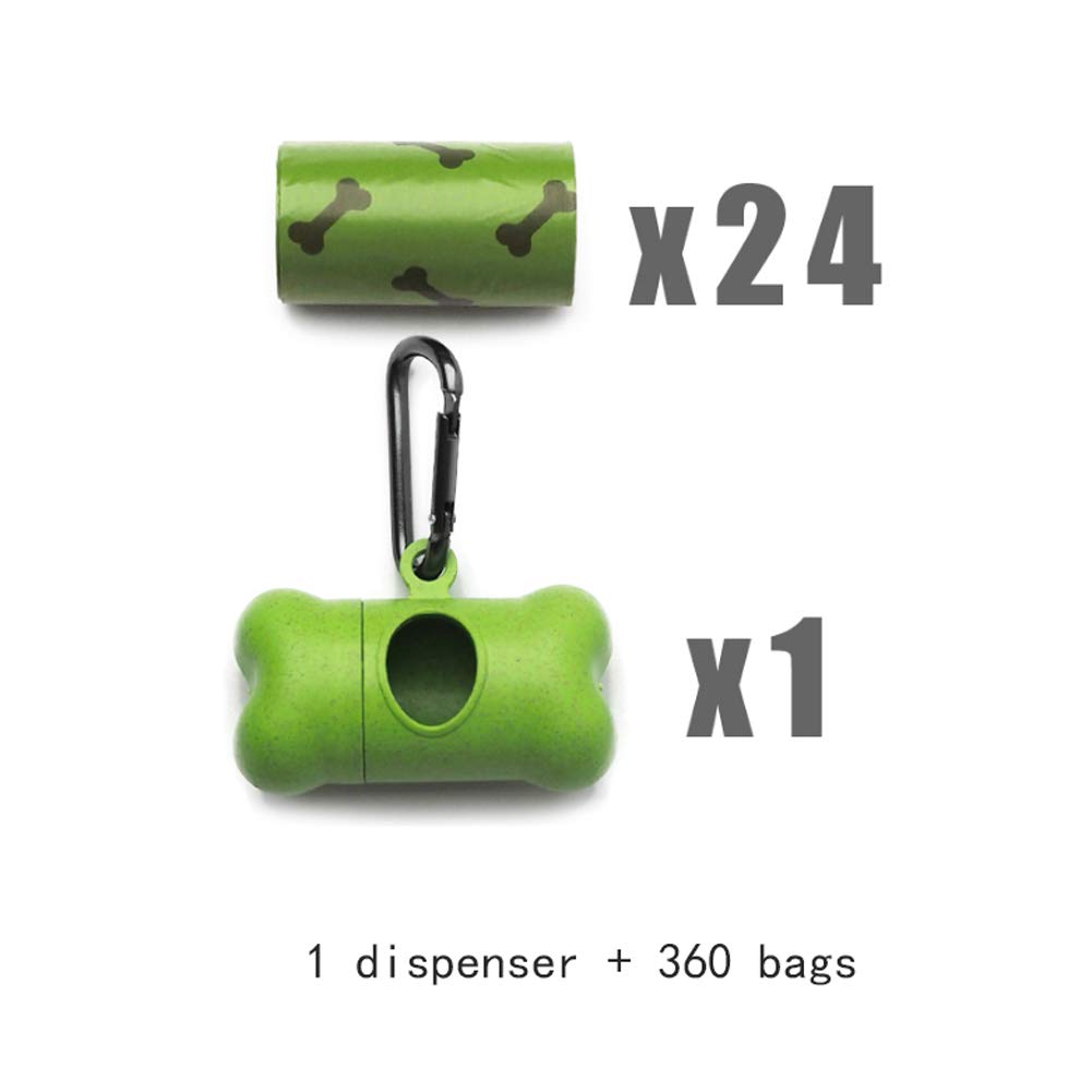 1 dispenser+360 bags Biodegradable Dog Waste Bags and Poop Bag Dispenser, Leak-Proof Dog Poop Bags,Refill Rolls,Leak-Proof, Thicker and Tougher (Size   1 Dispenser+360 Bags)