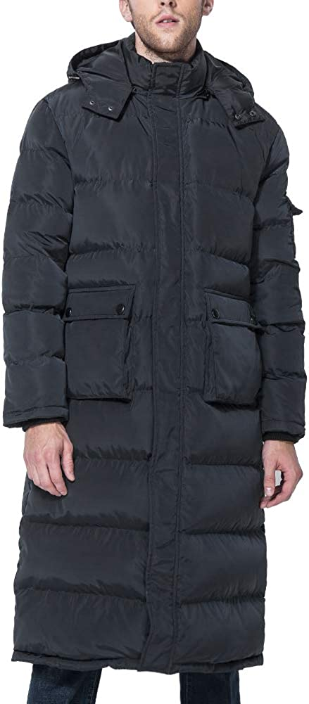 Tapasimme Men's Winter Warm Down Coat Men Packaged Down Puffer Jacket Long Coat with Hooded Compressible at  Men's Clothing store