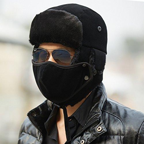 Al Invierno Solapa Bombardero Máscara Estilo Libre Sombrero Unisex Oído Viento A Deportes Hombres Black De Ruso Prueba Cálido Aire Invierno qXfCxwXdU