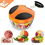 BYETOO Manual Food Chopper, Compact and Powerful Hand Held Vegetable Chopper/Mincer/Blender to Chop Fruits/Vegetables/Nuts/Herbs/Onions/Garlics for Salsa/Salad/Pesto/Coleslaw/Puree