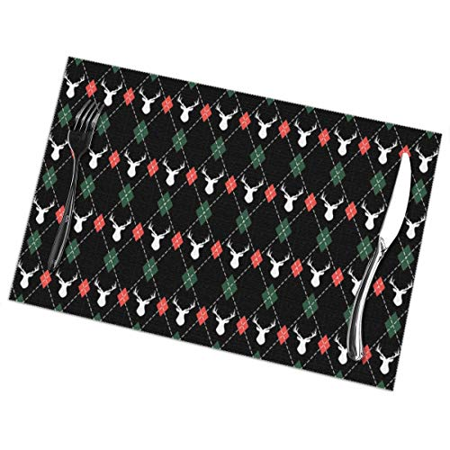 Iliovemymat Christmas and New Year Pattern Argyle with Deers 1218inch Placemats Set of 6 for Dining Table Washable Polyester Placemat Non-Slip Heat Resistant Kitchen Table Mats Easy to - Argyle Deer