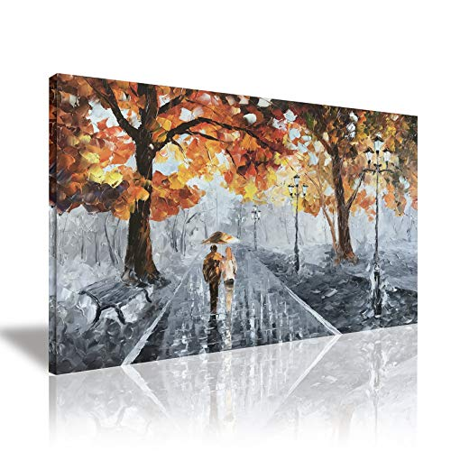 (Zoyart Romantic Lovers Stroll In Rain, Oil Paintings 24x36inch Hand Painted Abstract Modern Canvas Print Wall Art Wall Decorations Ready to)