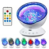 Abco Tech Top Ocean Wave Light Projector- Hi-Tech Upgraded Remote Control 12 LED Ocean Wave Light W/ 7 Colors & Built-In Music Player- Multicolor Relaxing Ambiance In Bedroom, Living Room, Kid's Room