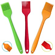 "Amazon Lightning Deal 53% claimed: Silcony Set of 3 Pure Silicone BIG SIZE 10"" Heat Resistant Basting Pastry Brushes - Perfect for BBQ, Grilling, Baking, Marinating Meat, Steaks, Spring Rolls & Much More- Assorted Colors"