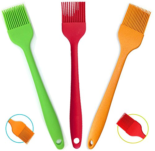 """Amazon Lightning Deal 53% claimed: Silcony Set of 3 Pure Silicone BIG SIZE 10"""" Heat Resistant Basting Pastry Brushes - Perfect for BBQ, Grilling, Baking, Marinating Meat, Steaks, Spring Rolls & Much More- Assorted Colors"""