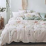 BHUSB Floral Branches Print Duvet Cover Set Queen Size 100% Cotton 3 Piece Bedding Sets Reversible Soft Pastoralism Flower Pattern Comforter Cover Set Full Size,Zipper Closure & Corner Ties