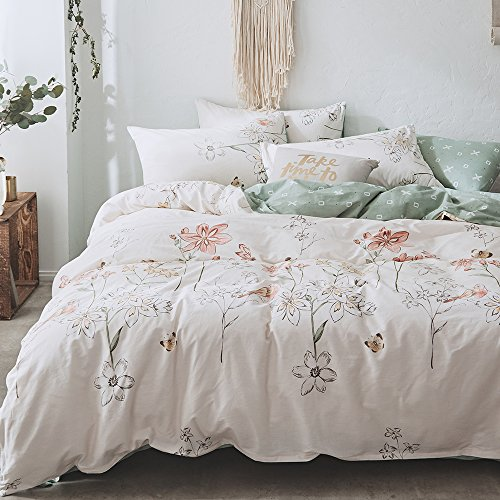 BHUSB Floral Branches Print Duvet Cover Set Queen Size Cotton 3 Piece Bedding Sets Reversible Pastoralism Flower Pattern Comforter Cover Set Full Size,Zipper Closure & Corner Ties