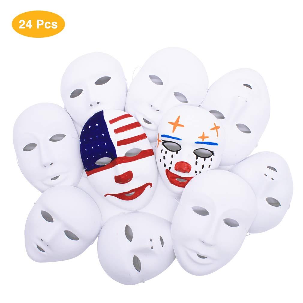 IDGIRLS DIY Cosplay Masks White Full Face Party Mask 12pcs Boys 12pcs Girls