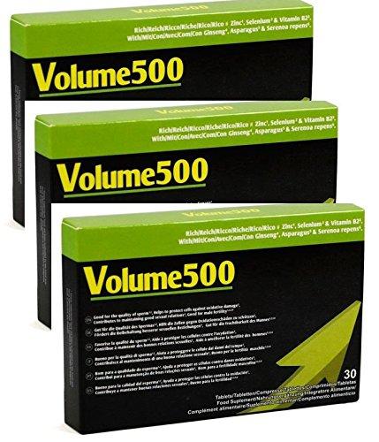 VOLUME500: Augmenter la quantité et la qualité du sperme jusqu'à 500% plus de volume (3 boîtes de 90 comprimés)
