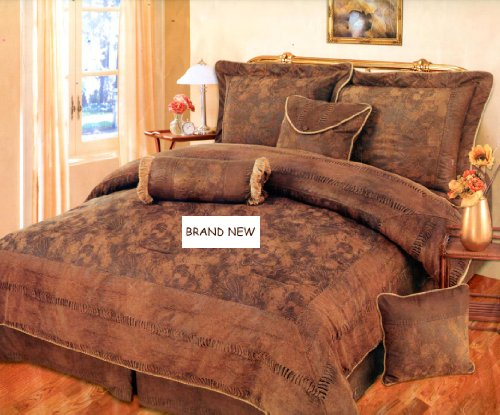 7 Pieces BROWN, BRONZE, and CAMEL Suede Comforter set CAL KING Bedding Set / Bed-in-a-bag Machine Washable (Bronze Bedding Ensemble)