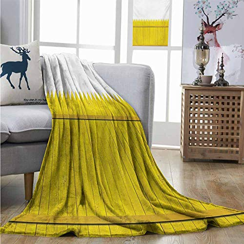 (Homrkey Plush Throw Blanket Yellow Colorful Wooden Picket Fence Design Suburban Community Rural Parts of Country Lightweight All-Season Blanket W70 xL84 Yellow Mustard )