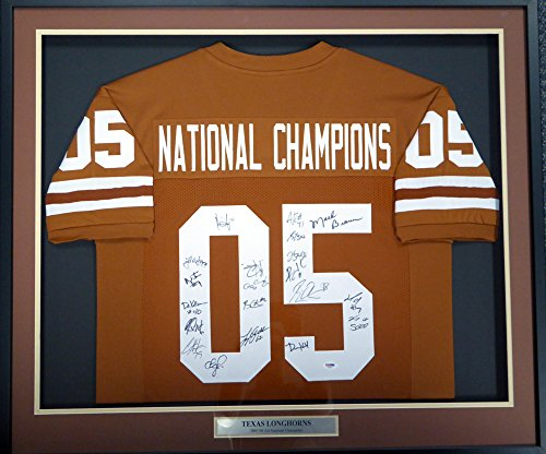 2005 National Champions Texas Longhorns Autographed Framed Orange Jersey With 20 Signatures Including Vince Young & Mack Brown (Texas Longhorns Framed)