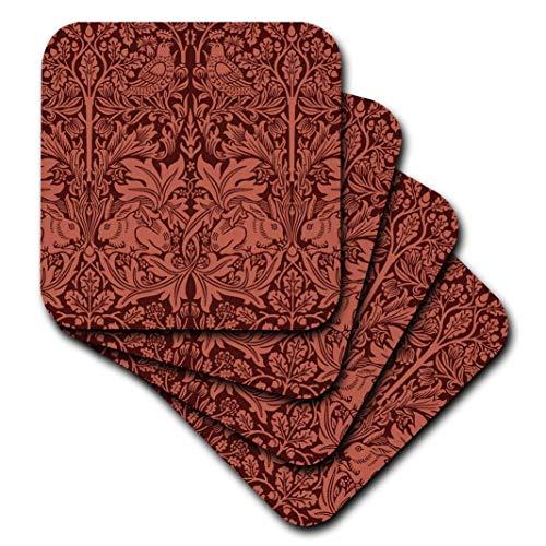 - 3dRose William Morris Brer Rabbit Chintz in Burnt Sienna-Soft Coasters, Set of 4 (CST_219026_1)