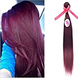 "PUNZEL'S Peruvian Virgin 100% Unprocessed Human Hair 99j Straight Grade 7A Burgundy Red,18"" For Sale"