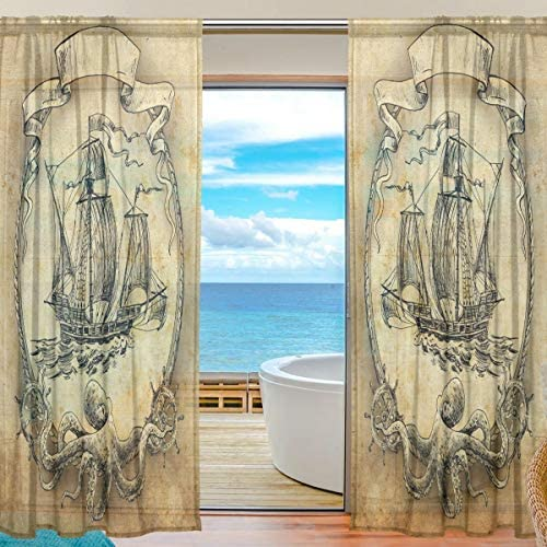 CUTEXL Home Sheer Curtain Vintage Animal Octopus Ship 55×84 Inches Door Window Treatment Panel Gauze Curtain Livingroom Bedroom