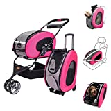 MULTIFUNCTION Pet Carrier + Backpack + CarSeat + Pet Carrier Stroller + Carriers with Wheels for dogs and cats ALL IN ONE (5-in-1 Pink)