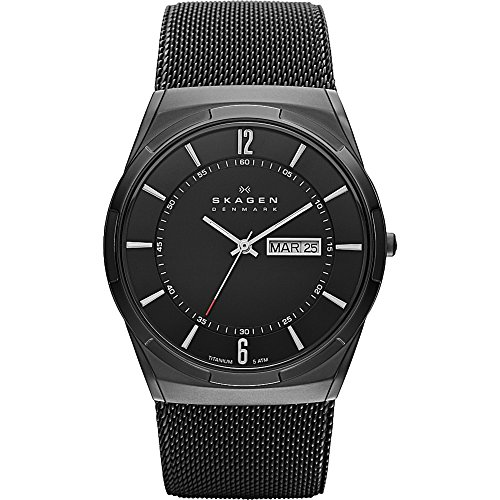 Skagen Men Titanium Black Mesh Watch (Skagen Men's SKW6006 Melbye Black Titanium Mesh)