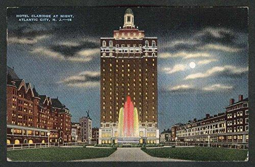 Hotel Claridge at Night Atlantic City NJ postcard 1940 (Atlantic City Nj Postcard)