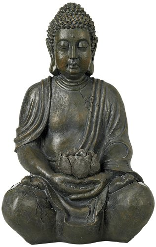 Sitting Buddha 19 1/2 High Sculpture with Solar Powered LED High Outdoor Statue