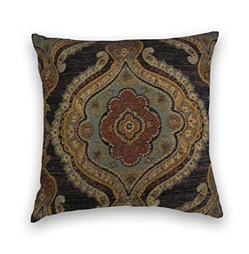 Black Brown Gold Chenille Suzani Decorative Throw Pillow Cover (Black And Brown Throw Pillows)