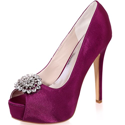 Clearbridal Women's Satin Wedding Bridal Shoes Open Peep Toe High Heel for Evening Prom Party with Rhinestone Crystal ZXF3128-20A Purple 4ZIgyxuW