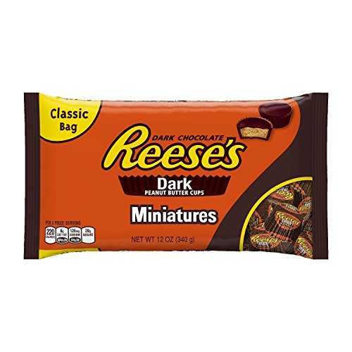 REESE'S Peanut Butter Cups, Dark Chocolate Candy, Miniatures, 12 Ounce (Pack of 4)