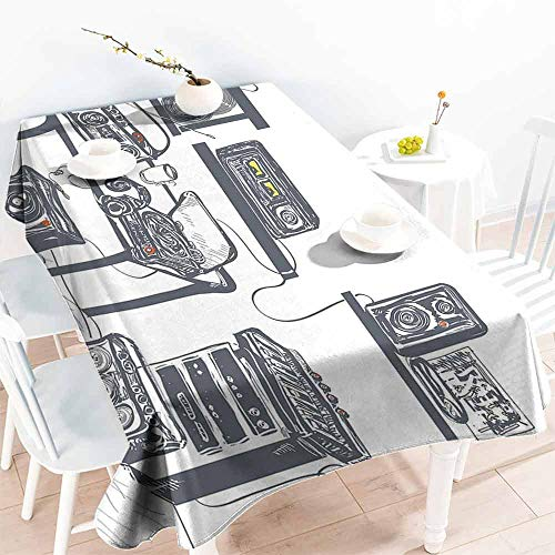 (HCCJLCKS Easy Care Tablecloth Modern Recording Studio with Music Devices Turntable Records Speakers Digital Illustration Excellent Durability W70 xL84 Cadet Blue)