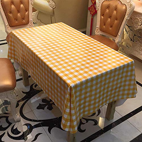 LASLU Plastic Checkered Tablecloths -Party Picnic Camping Vinyl Tablecloth - 6pcs Vinyl Tablecloth (Orange, 108 x 54 inches)