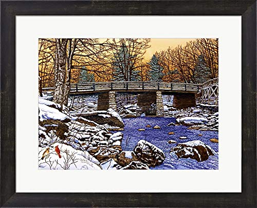 Bridge Over Glade Creek - West Virginia by Thelma Winter Framed Art Print Wall Picture, Espresso Brown Frame, 21 x 17 inches