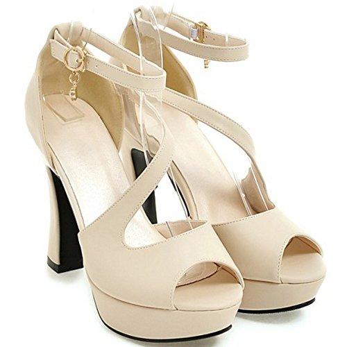 COOLCEPT Mujer Moda Al Tobillo Sandalias Peep Toe Plataforma Tacon Ancho Zapatos Albaricoque