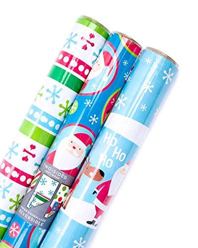 Holiday Wrapping Paper - Hallmark Reversible Christmas Wrapping Paper Bundle, Kids (Pack of 3, 120 sq. ft. ttl.)