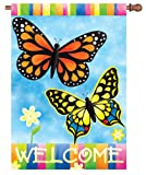 Premier Kites 52827 House Brilliance Flag, Welcome Butterflies, 28 by 40-Inch