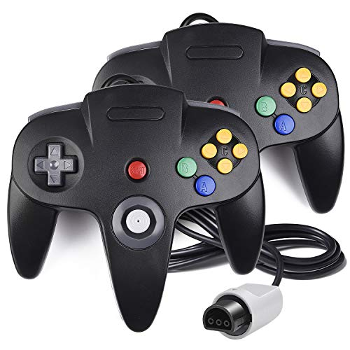 (2 Pack N64 Controller, iNNEXT Classic Wired N64 64-bit Game pad Joystick for Ultra 64 Video Game Console N64 System Mario Kart (Black))