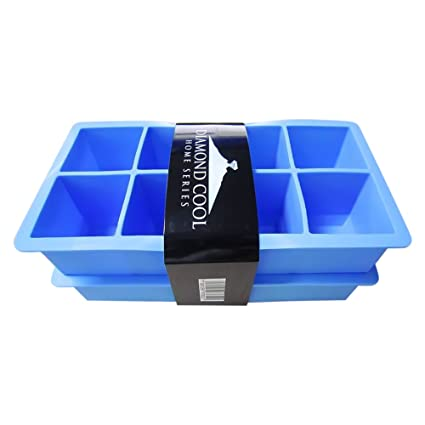 Diamond Cool – 2 Moldes para 8 cubitos de hielo XXL – Molde azul de silicona
