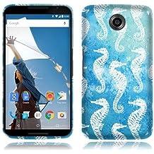 Nextkin Motorola Google Nexus 6 Flexible Slim Silicone TPU Skin Gel Soft Protector Cover Case - Seahorse