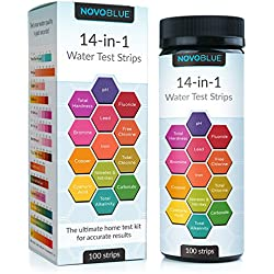 NovoBlue 14-in-1 Water Test Kit Tester Strips for Pool, Spa, Hot Tub, Aquarium, Drinking Water, Well - Detect pH, Hardness (TDS), Chlorine, Fluoride, Lead, Iron, Copper, and More!