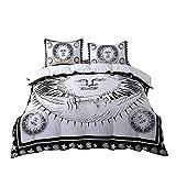 Sophia Art Psychedelic Celestial Sun Moon mandala Duvet Cover Set Indian Sun Hippie Hippy Bedding set Black and White Comforter Cover (Queen)