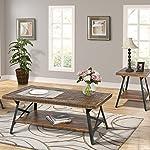 "Harper&Bright Designs 43"" Wood Coffee Table with Metal Legs, End Table/Living Room Set/Rustic Brown (Brown Coffee Table)"