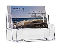 SourceOne 2 Tier Premium Acrylic Clear Business Card Holder, Clear (XDEEP2PCLRBC)