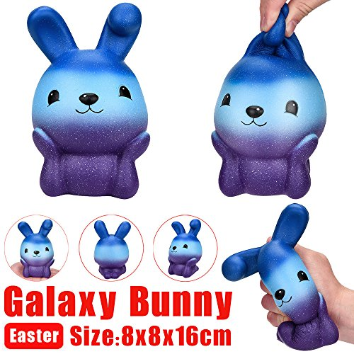 HHei_K Galaxy Stress Relief Squeeze Toys Cute Jumbo Rocket Egg Bunny Scented Soft Squishy Slow Rising Phone Key Straps -