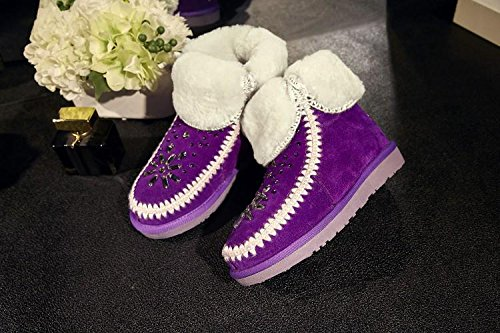 winter rhinestone NSXZ snow booties 120W PURPLE women's Fur cuffed boots pxxBw1f