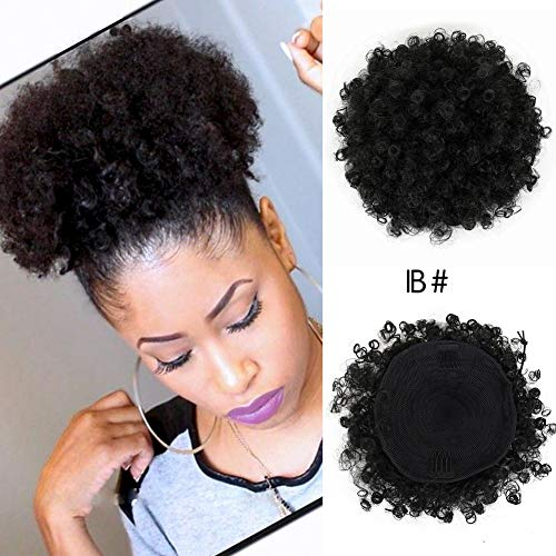 CINHOO High Puff Afro Ponytail Drawstring Short Afro Kinky Curly Pony Tail Clip in on Synthetic Curly Hair Bun Made of Kanekalon Fiber Puff Ponytail Wrap Updo Hair Extensions with Clips