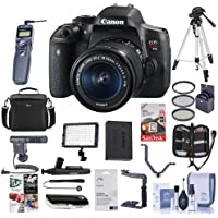 Canon EOS Rebel T6i DSLR with EF-S 18-55mm f/3.5-5.6 IS STM Lens - Bundle With 64GB SDHC Card, Remote Trigger, Camera Case. Tripod, Video Light, Shotgun Mic, Spare Battery, 67MM Filter Kit, And More