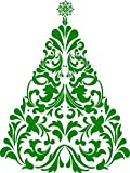 Chic Walls Removable Christmas Tree Silhouette Wall Art Décor Decal Vinyl Sticker Mural Holidays Living Room Bedroom Door Green 80''hx60''w