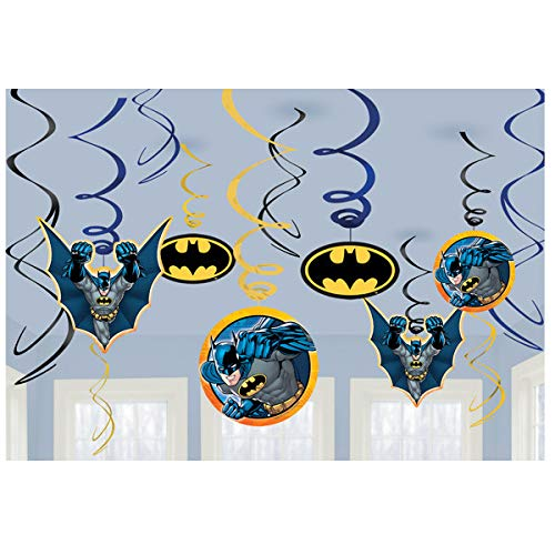 Includes Plates Napkins Hanging Swirls and ElevenPlus2 straws Batman Birthday Party Supplies Kit Cups