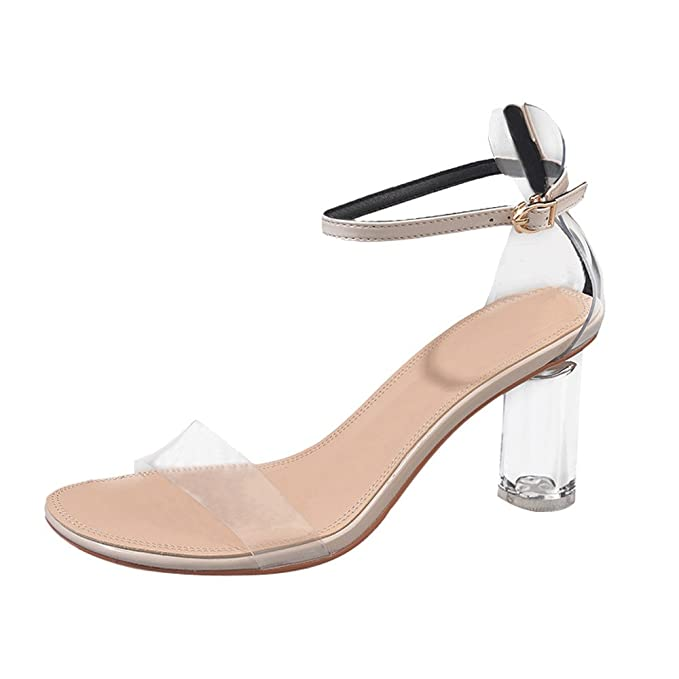 290eaf77f48 Kasien Fashion Women Transparent Sandals Ankle High Heels Block Party Open  Toe Shoes (Beige